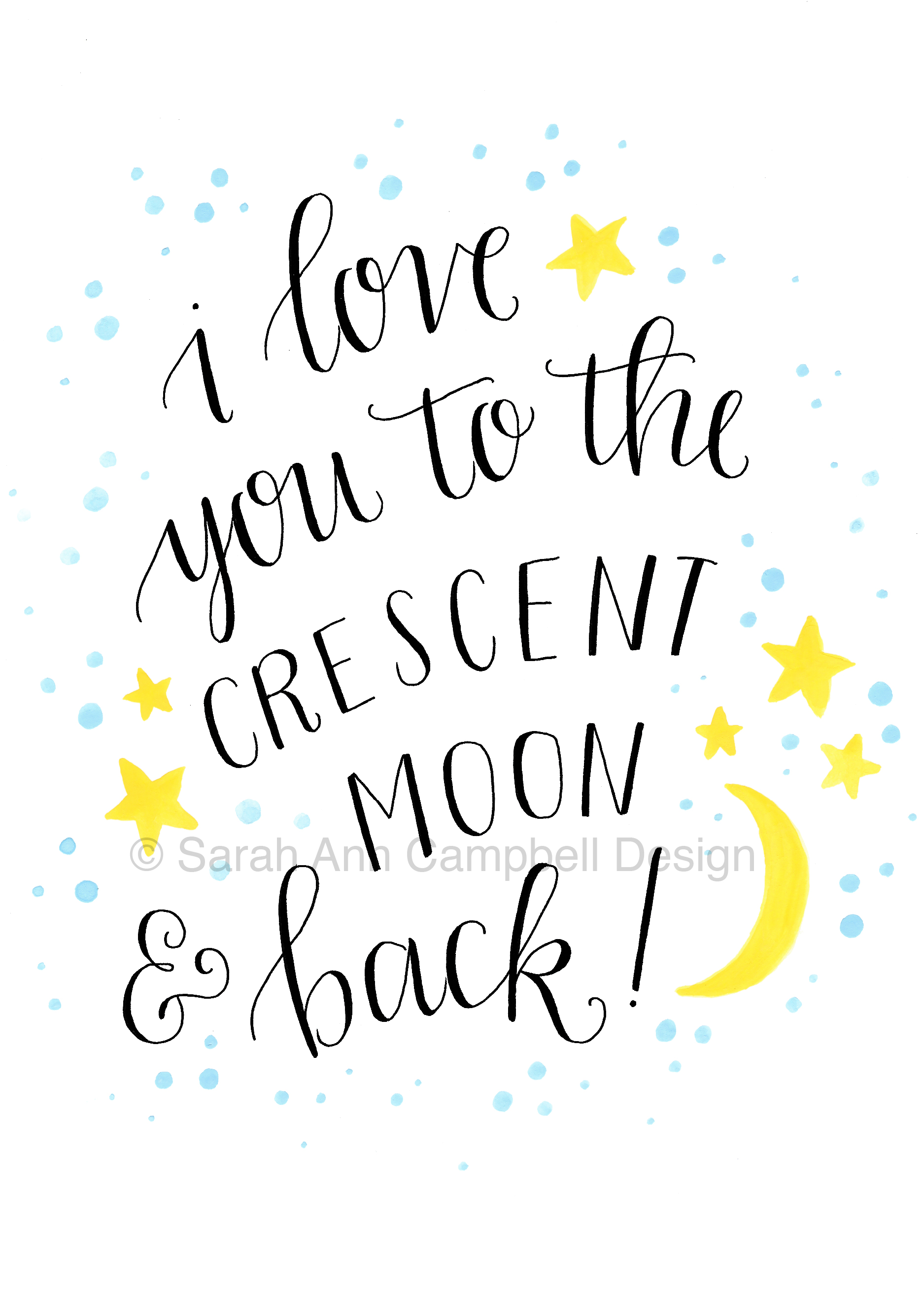 Quote I Love You To The Moon And Back Tri Delta  Sarah Ann Design